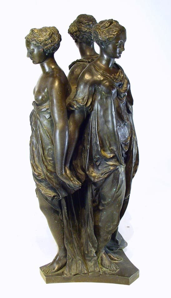 "74: Large 19th C Bronze "" The Three Graces """