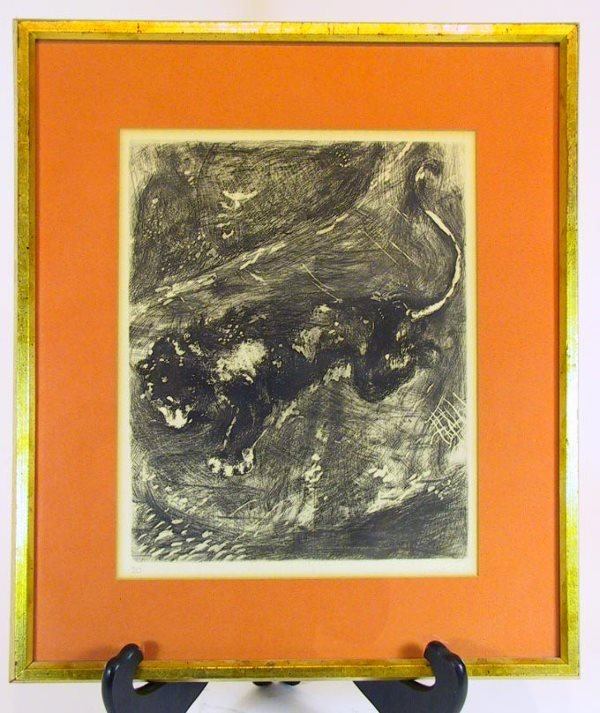 """217: Chagall Etching """" The Lion and the Rat"""" Circa 1927"""
