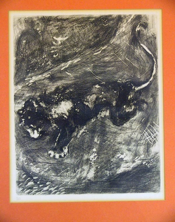 """217: Chagall Etching """" The Lion and the Rat"""" Circa 1927 - 2"""