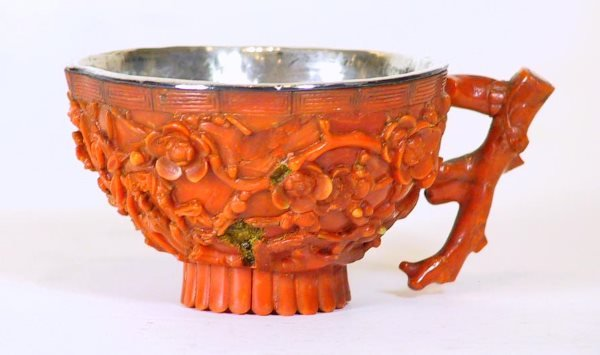 219: Coral Silver  Asian Chinese Export Cup