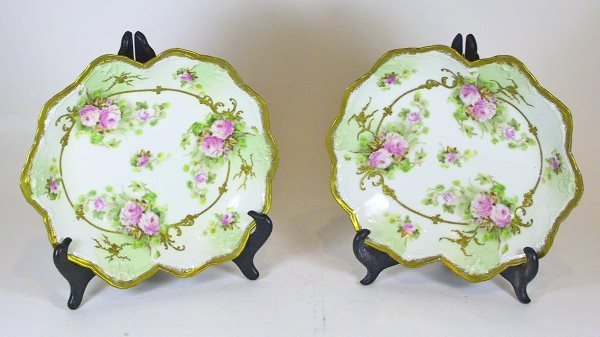 221: Pair of Hand painted Limoges Serving Dishes (Roses