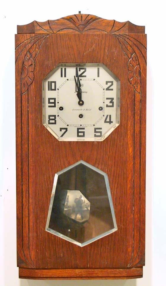 224: 1939 French Deco Wall Clock Westminster chimes