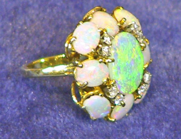 2: Estate 14k Diamond and Cabochon Opal Ring