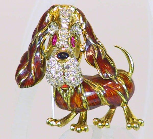 10: 18K Gold Diamond Ruby Enamel Dog Pin