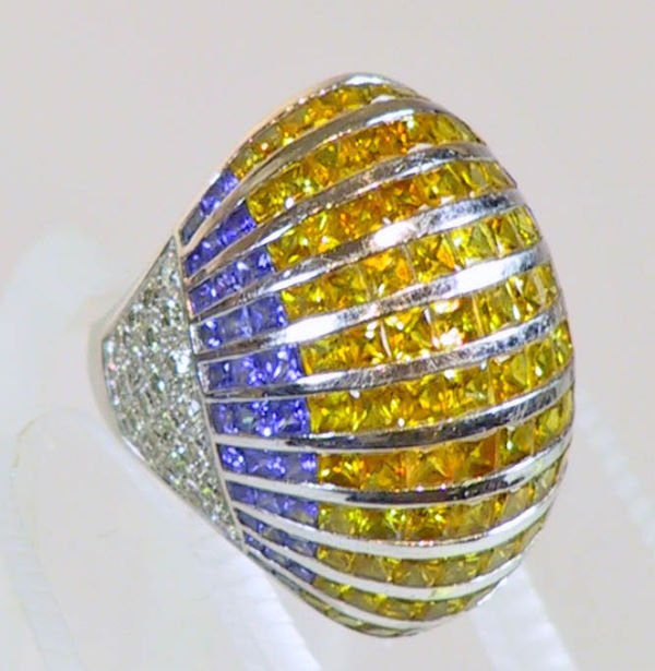 13: 18k Diamond  Yellow and Blue Sapphire Ring