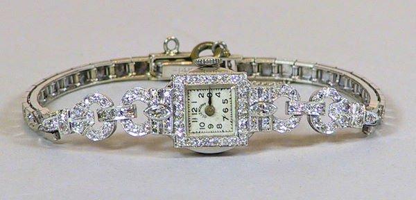 14: Platinum and Diamond Ollendorf Swiss Ladies Watch