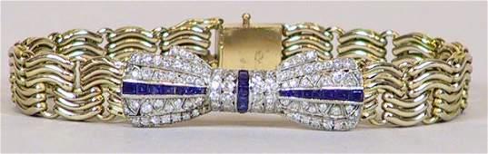 29 14k Gold Diamond  and Sapphire Bracelet Set