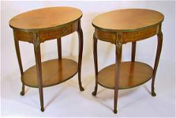 83 Pair of Inlaid Wood and Brass End Tables