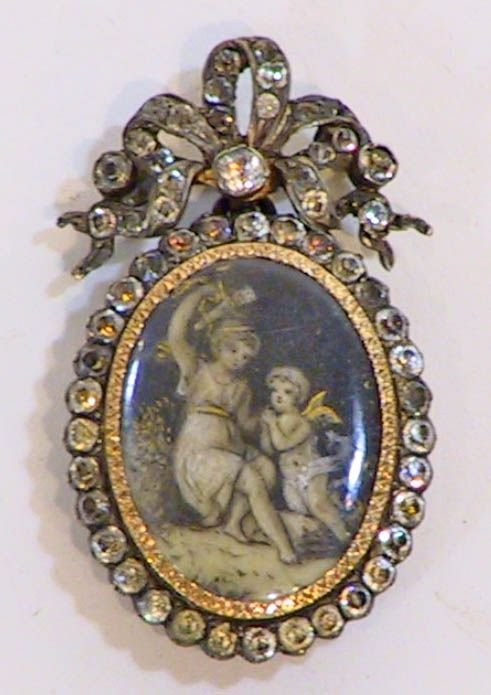 3: An Victorian Mourning Locket w/  Hand Painted Angel