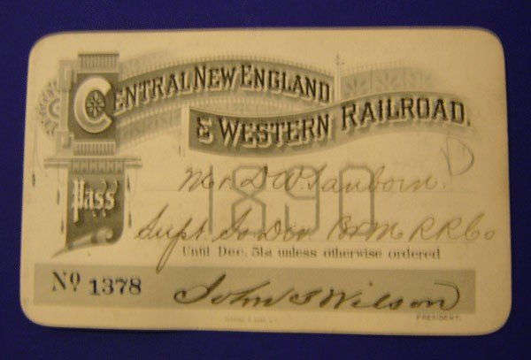 2: Central New England & Western Railroad 1890 Pass