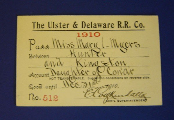 9: 2 Passes -The Ulster & Deleware R.R. Pass 1910, 1911