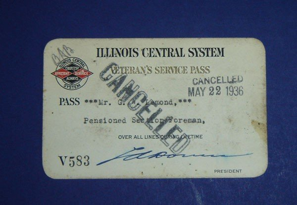 15: Illinois Central System RR Veteran's Service  Pass