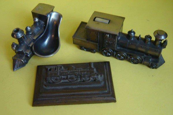 141: Lot Of 3 Unique Locomotive Desk Ornaments