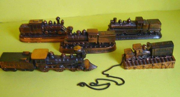 143: Lot Of 5 Vintage Locomotive Paperweights