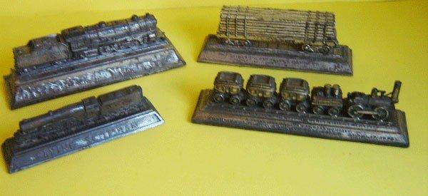 144: Lot Of 3 Vintage Locomotive Paperweights & 1 Bank