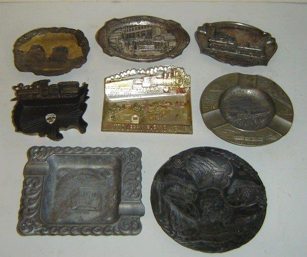 149: 8 Vintage Train Souvenir Ashtrays & Trays