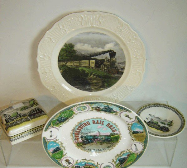 151: 9 Pieces Of Vintage Railroad China Collectibles