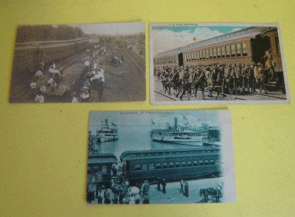 154: 3 Black Americana And Army Train Postcards