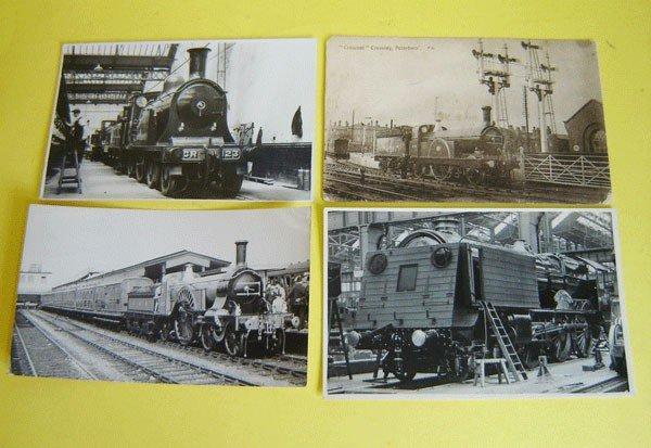 156: 12 Vintage Postcards Locomotive In Stations