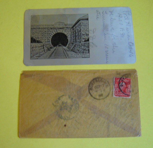 159: Rare St. Clair Tunnel Postcard & Original Envelope