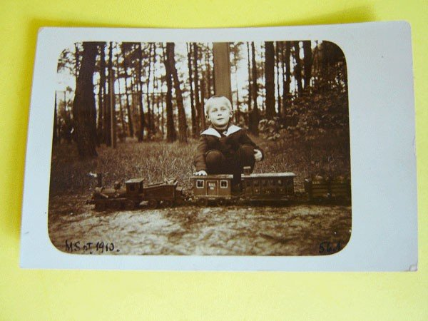 """160: Endearing Postcards Photo Of Boy And Girl """"Trains"""""""