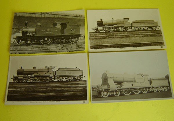 161: Lot Of 15 Vintage Locomotive Postcards