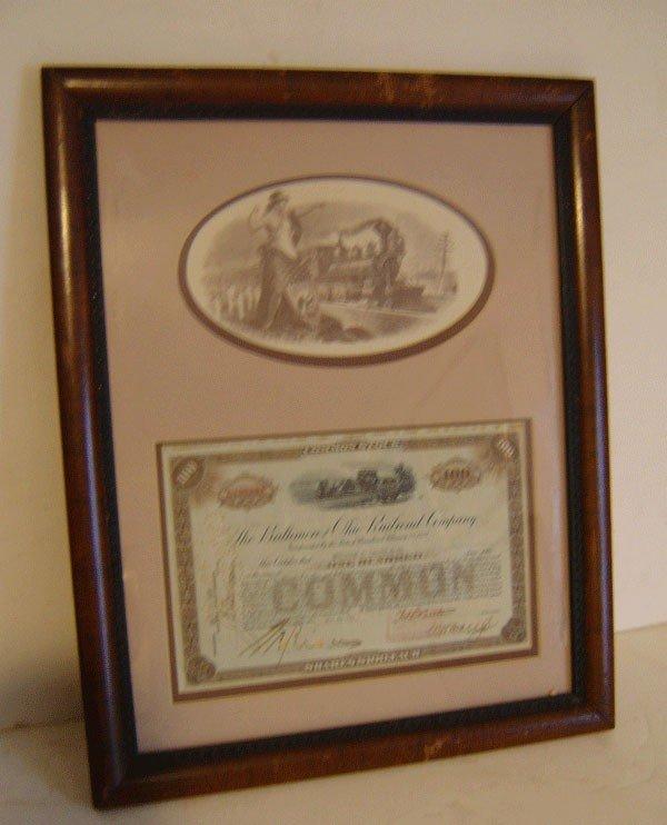 291: 192 Baltimore & Ohio Stock Certificate In Frame