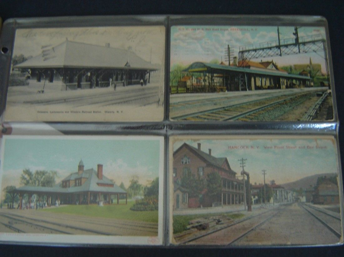 79 Vintage Railroad Station Postcards