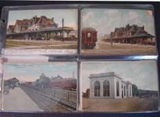 16: 64 Vintage Railroad Station Postcards