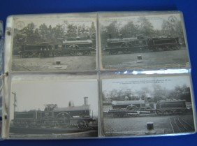 80 Vintage Engines And R.R. Stations Postcards