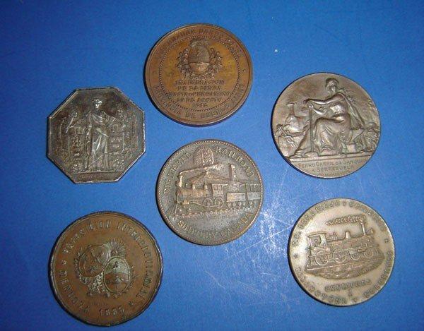 59: 6 Antique Railroad Coins