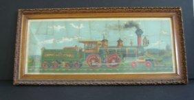 Framed 4 Vintage Locomotive Train Puzzles