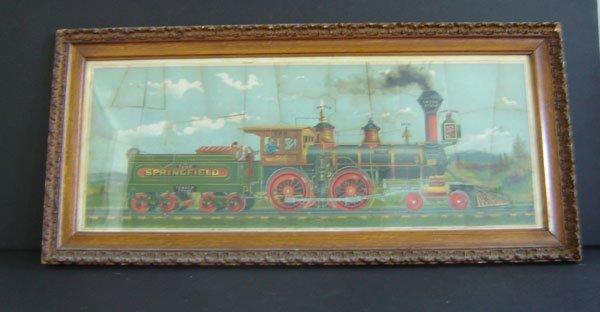 56: Framed 4 Vintage Locomotive Train Puzzles