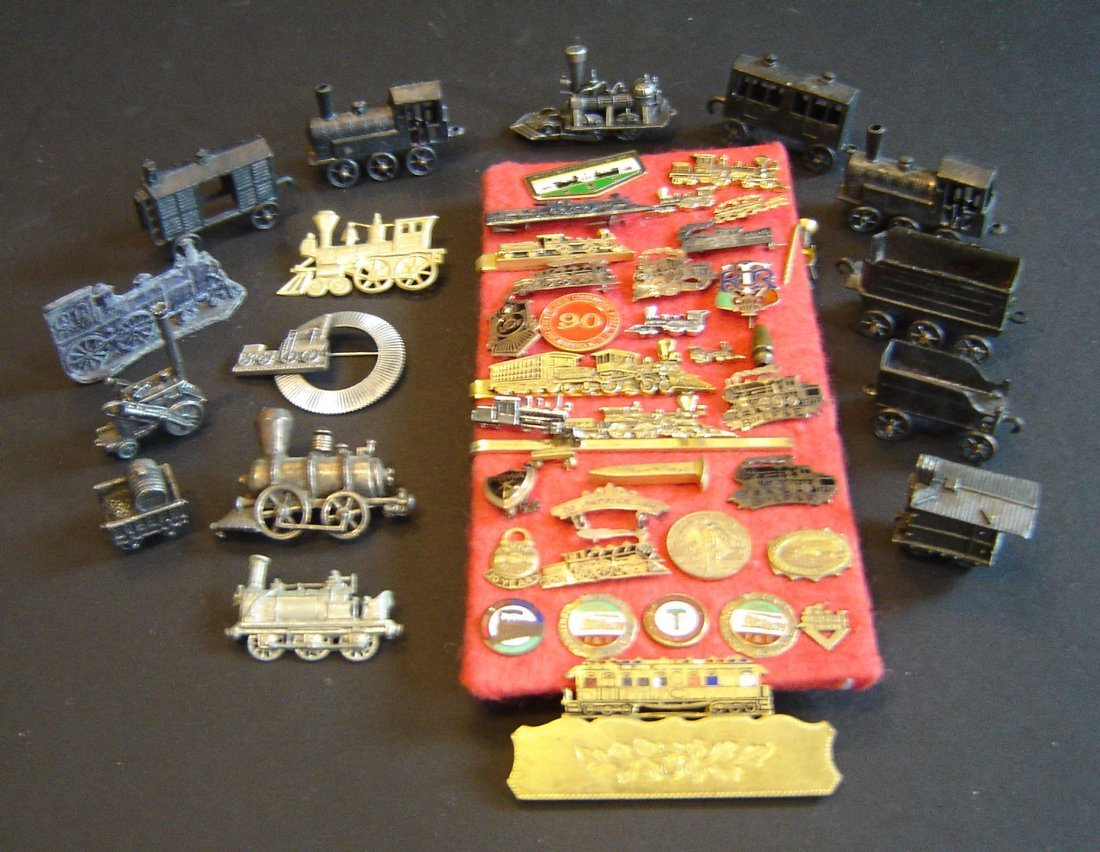 73: Lot Of Antique Pins And Miniature Locomotives