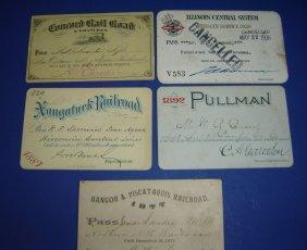 1A: Lot Of 5 Vintage Railroad Passes