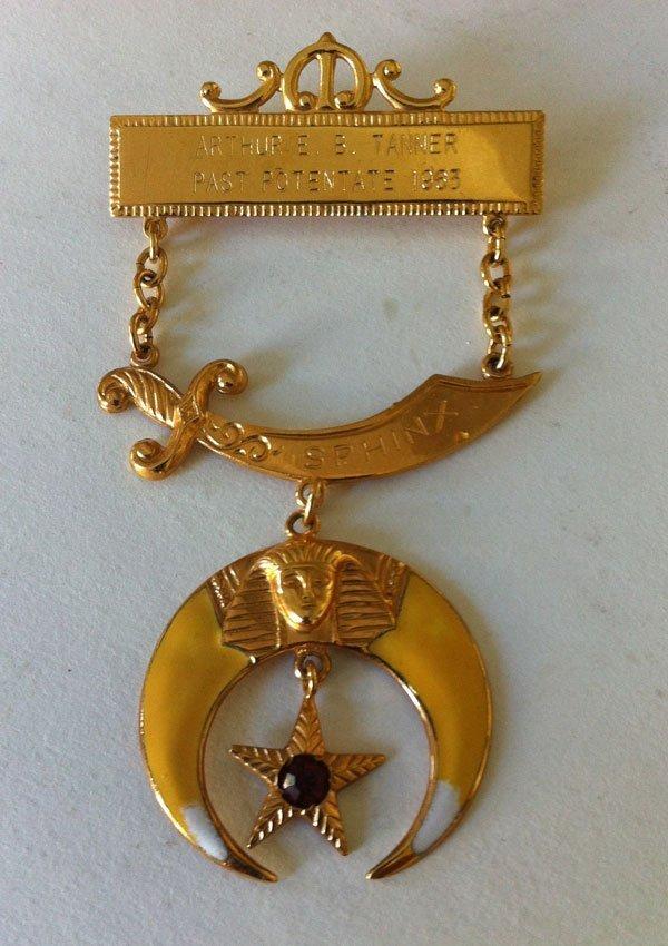 12: 10k  Gold +  Enamel Past Potentate Shriners Sphinx