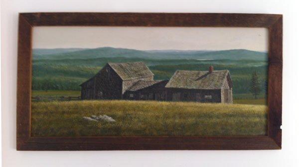 21: Vintage Oil On Masonite Of Barns Sgnd David Merrill