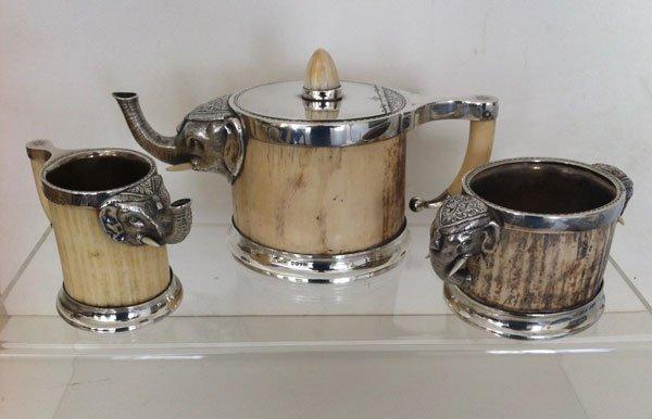 22: Rare English Sterling / Faux Ivory Elephant Tea Set