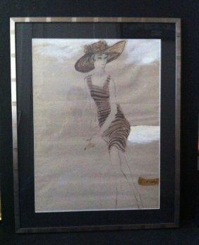 4: Original Fashion Illustration Drawing Rene Bouche