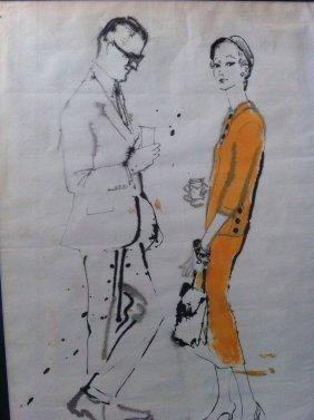 Original Fashion Illustration Drawing Rene Bouche