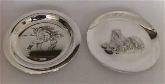 1: 2 Sterling Silver 1970's Collector Plates Rockwell