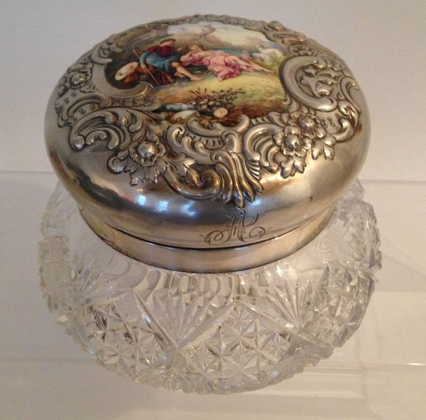 Rare Antique Sterling Silver Crystal,Enamel Powder Jar