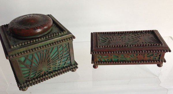 Tiffany Studios Pine Needle Stamp Box And Inkwell