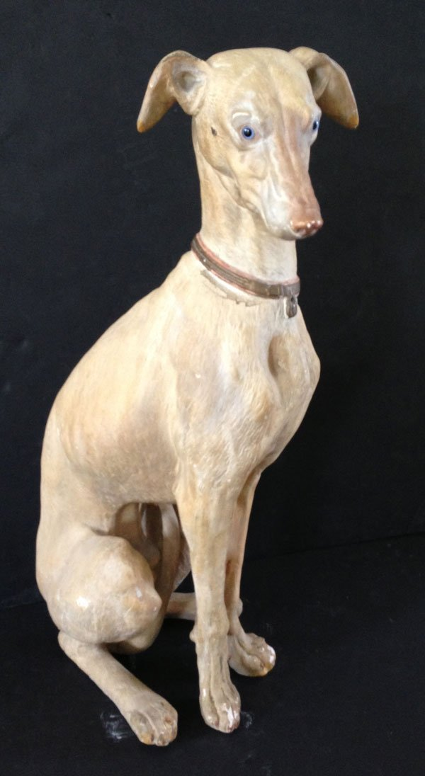 Large Irresistible Circa 1930'S Plaster Whippet Dog