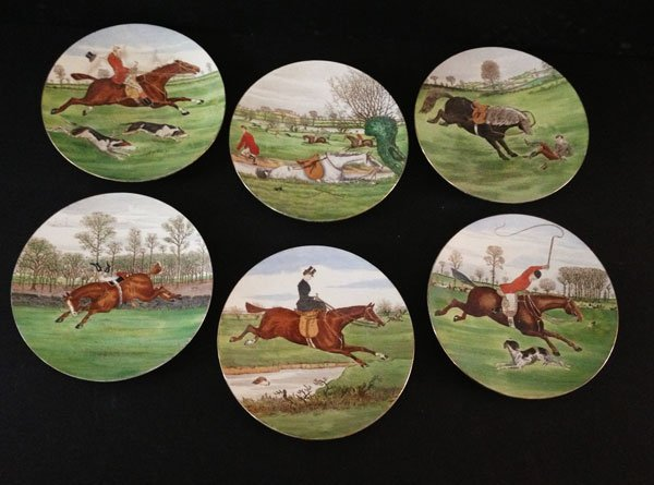 Great Set Of Antique Cauldon England Fox Hunting Plates