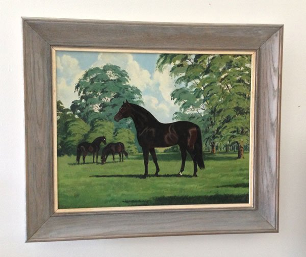 Lovely O/C Of  Horses Signed Jeanne Mellin 1953