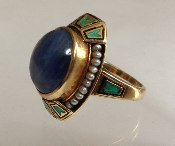 Eye Popping 14k Gold Star Sapphire Art Deco Ring