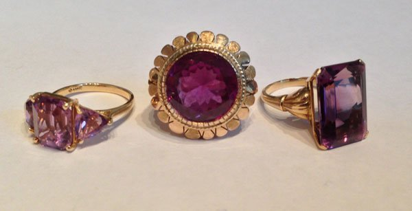 Three Vintage 14k Gold And Amethyst Rings