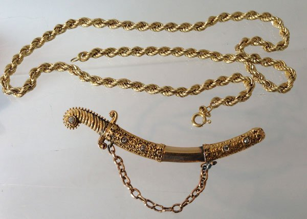 Clever 14K Gold Sword Pin And Necklace