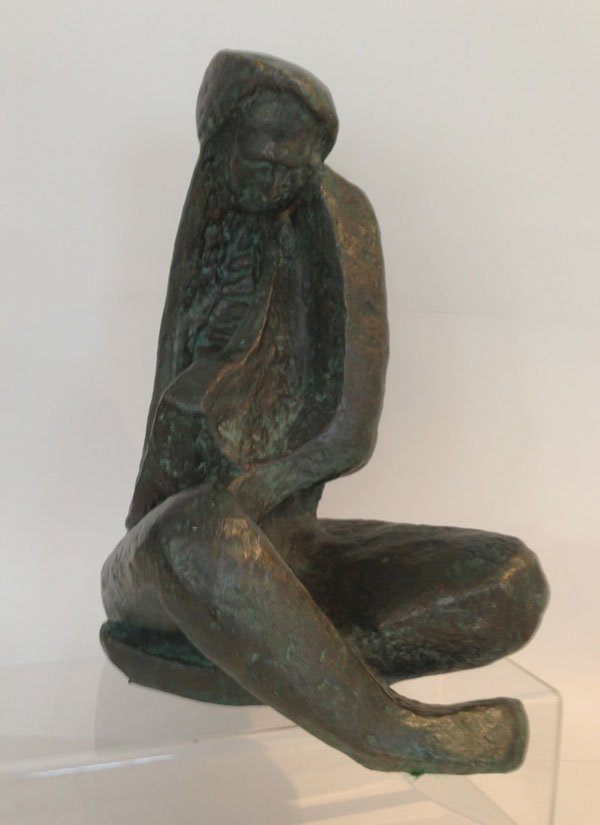Signed Mid Century Bronze Of A Woman 1/4